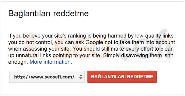 google baglantilari reddetme