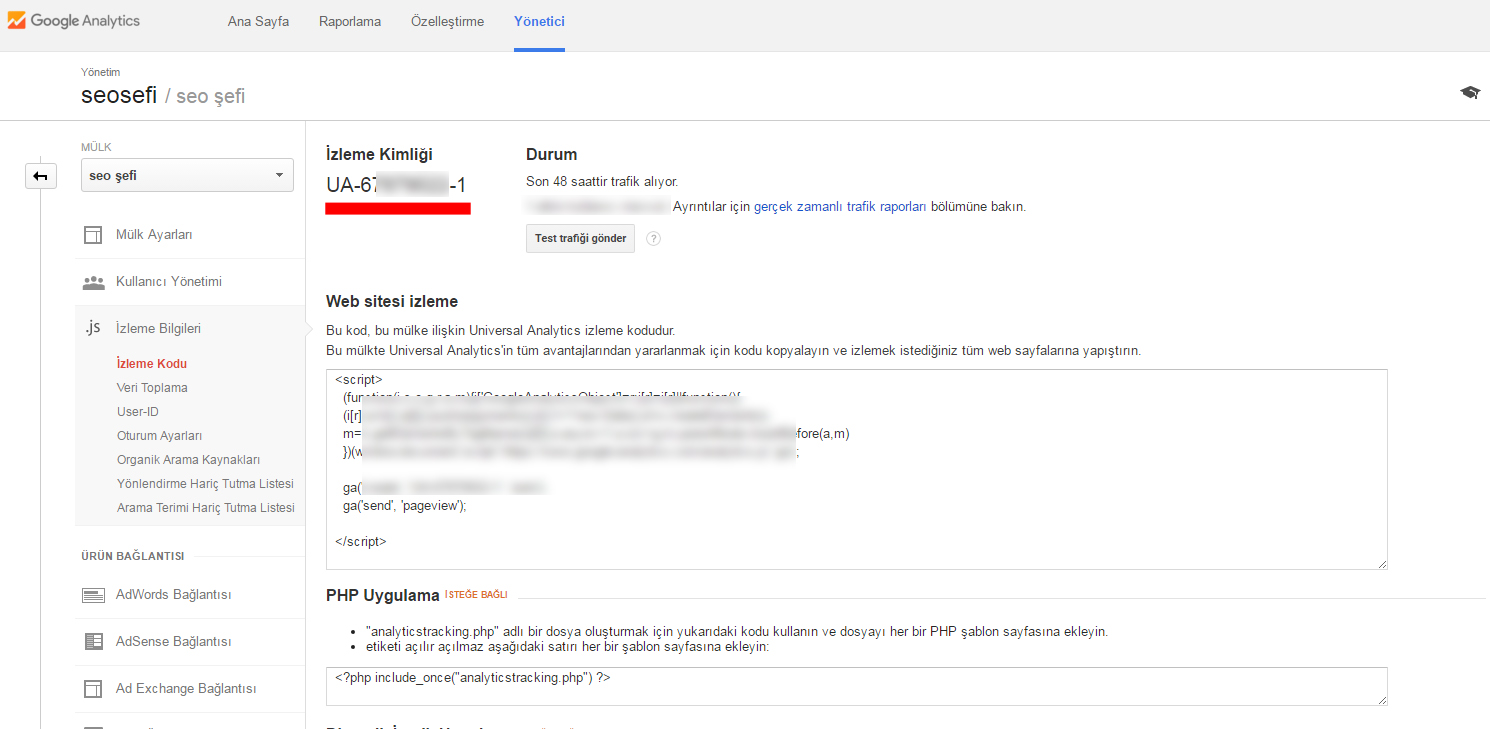 google analtics izleme kodu kimliği