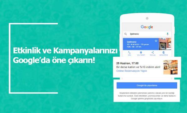 Etkinlik ve Kampanyalarınızı Google'da öne çıkarın