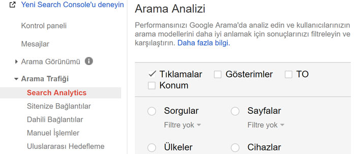 Google Search Console analytics