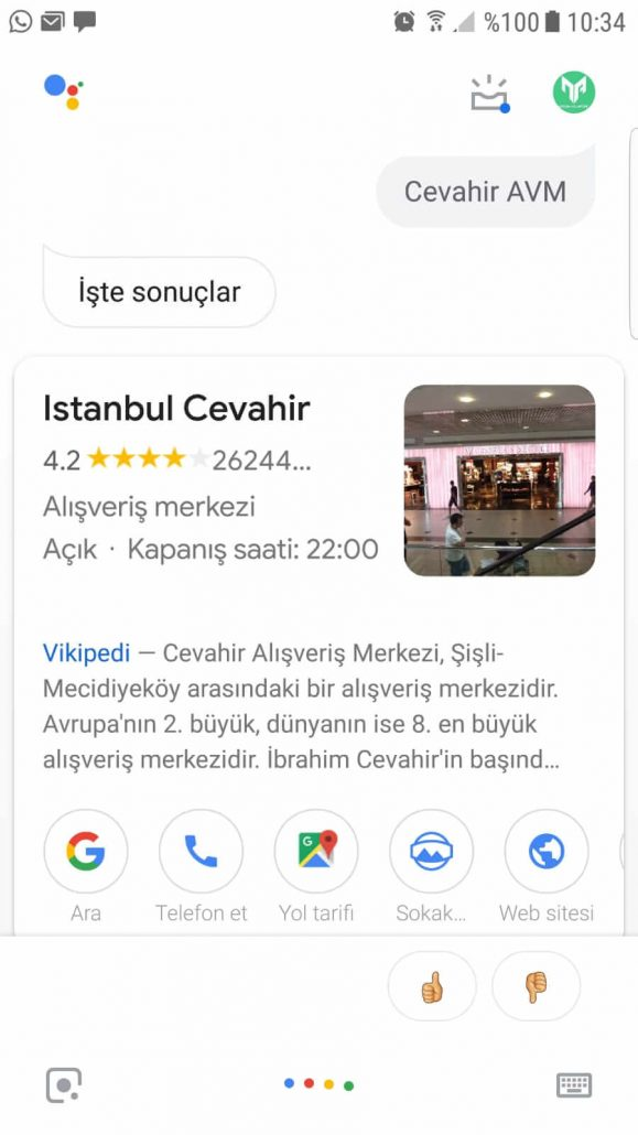 google asistan adres arama