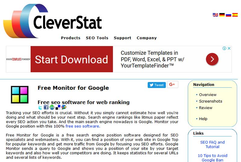 Free Monitor for Google by Cleverstats