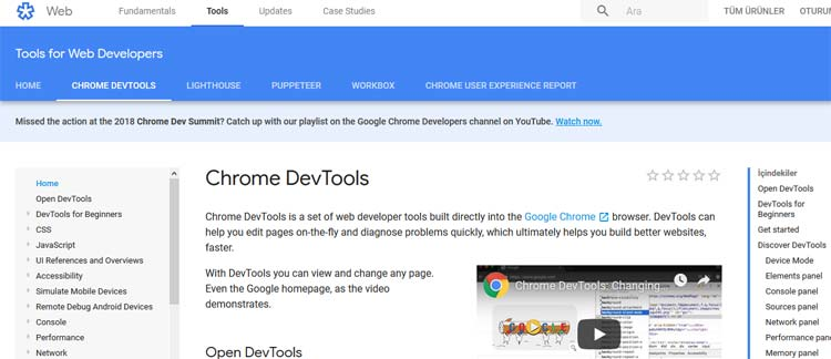 Google Chrome Dev Tools