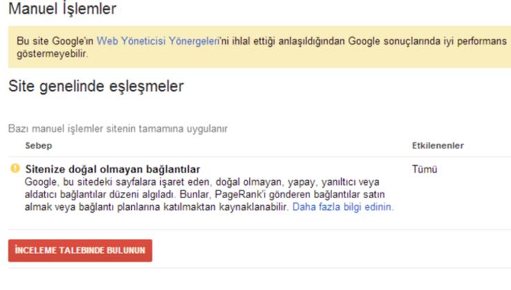 Google Manuel İşlemler Raporu Nedir? Türleri Çözümleri