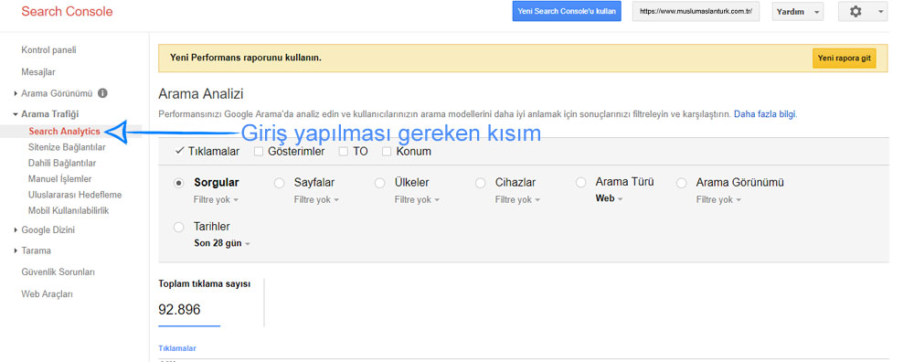 search console giriş
