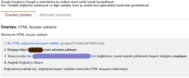google web site doğrulama