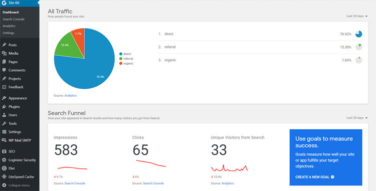 google site kit analytics