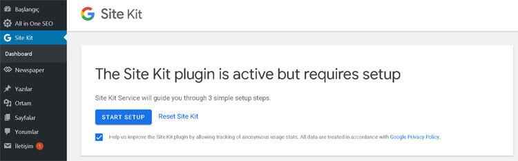 google site kit yapılandırma
