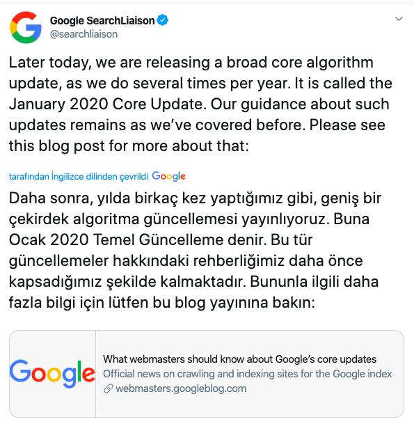 çekirdek algoritma güncellemesi