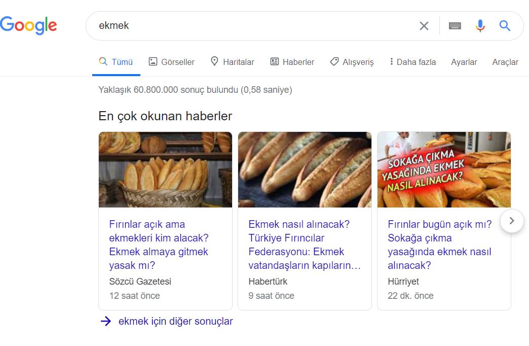 ekmek sorgu sonucu