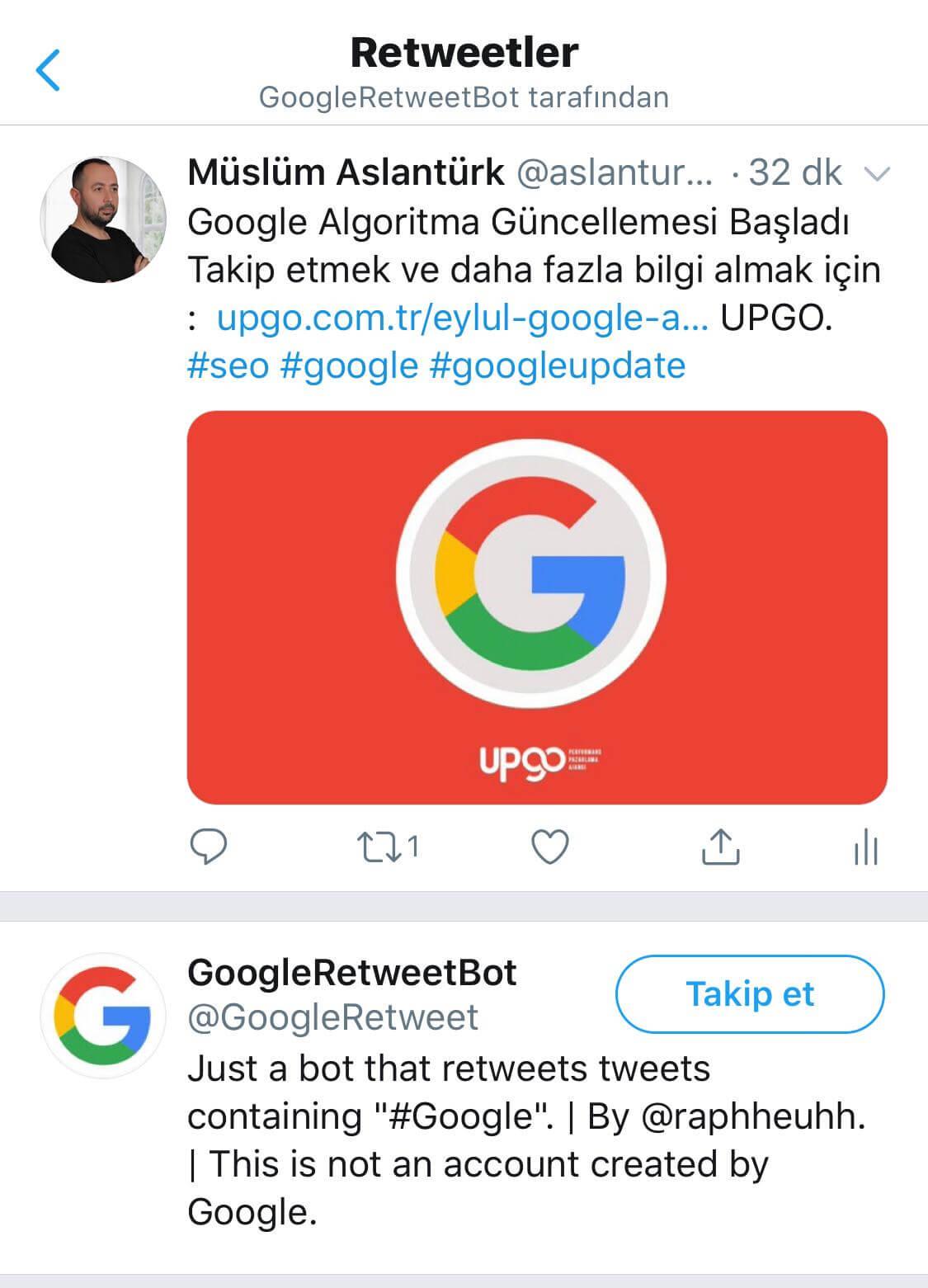 google retweet