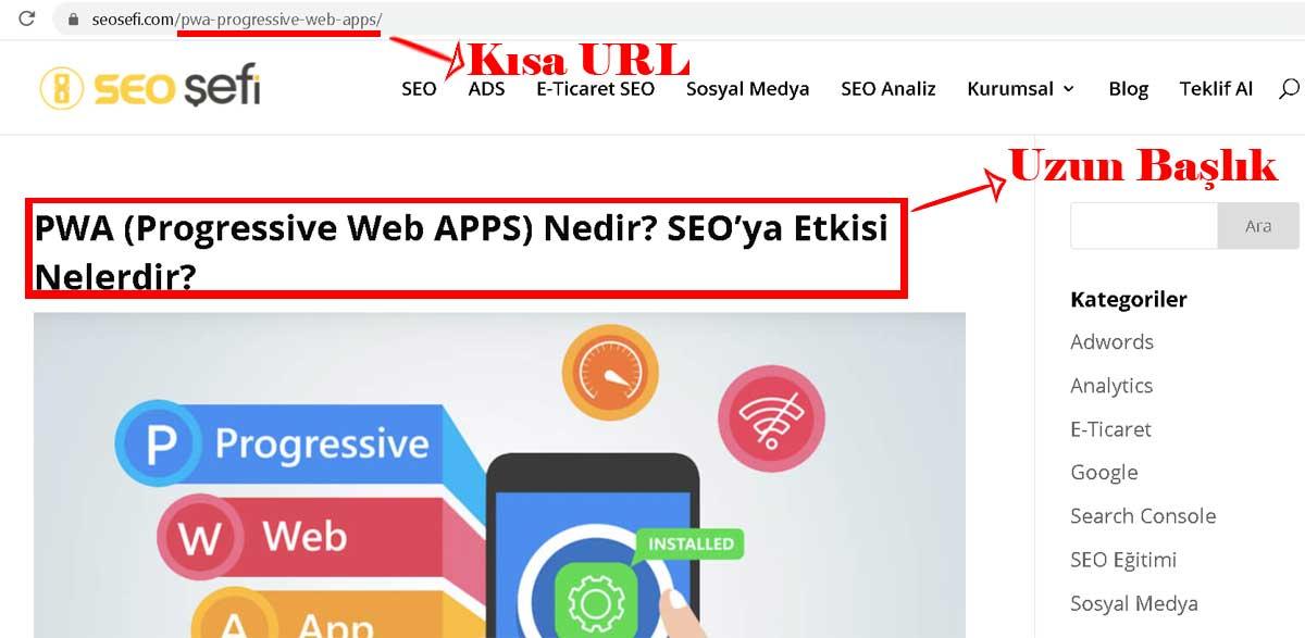 Kısa URL kullanımı