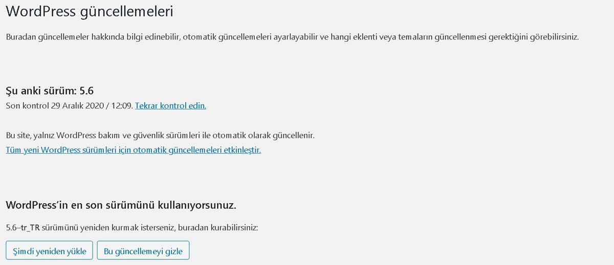 Wordpress son sürüm
