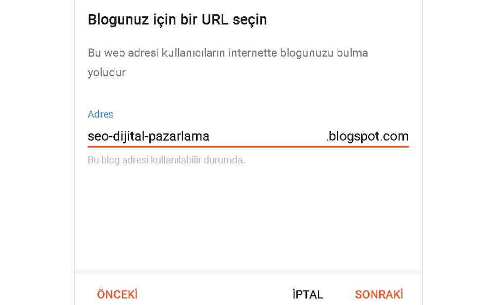 Blogspot URL seçimi