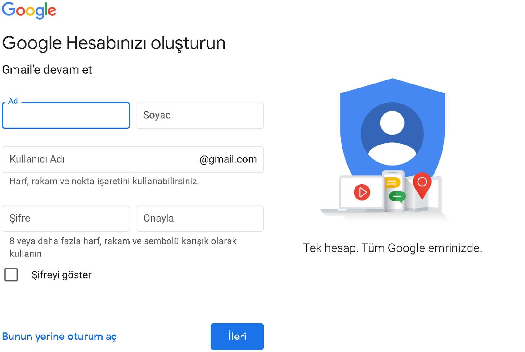 Gmail hesap bilgi girişi