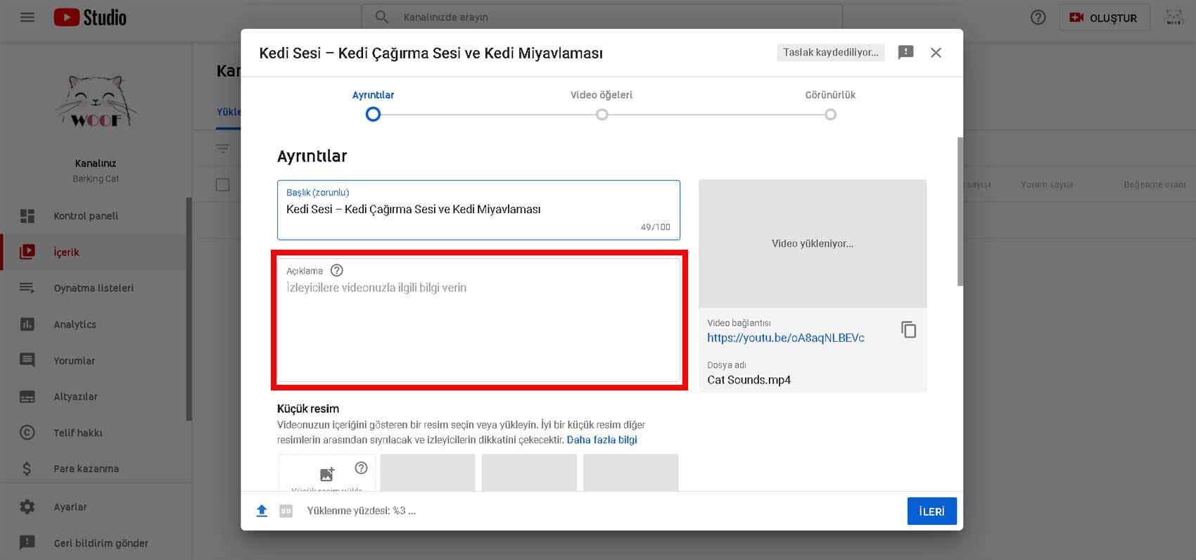 Youtube video açıklama optimizasyonu