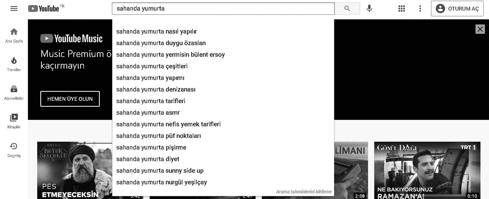 Youtube video arama tamamlama